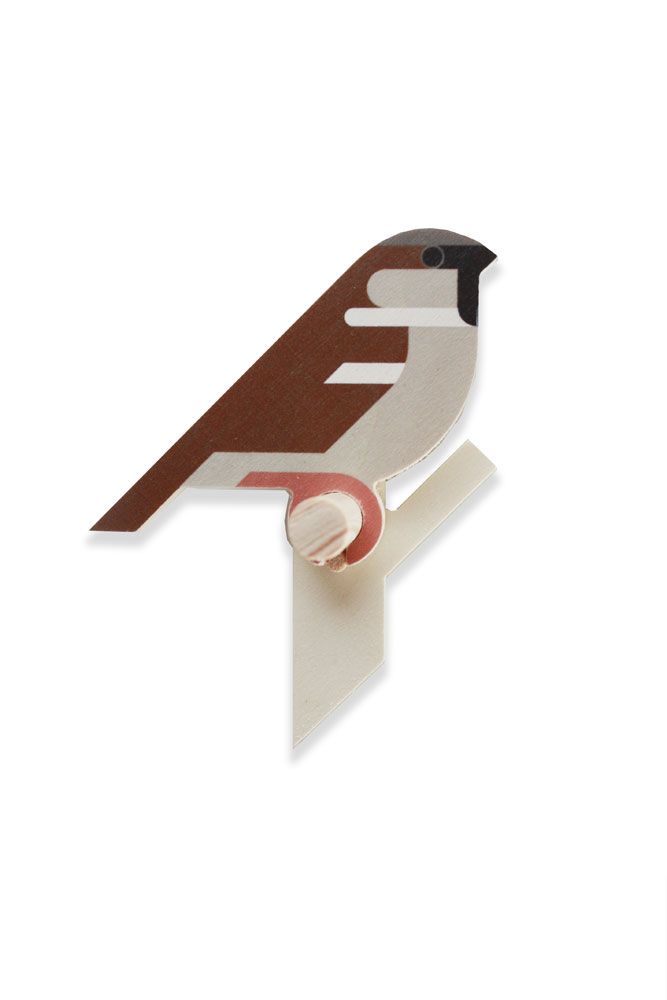 sparrow wooden wall hook by Hinghang