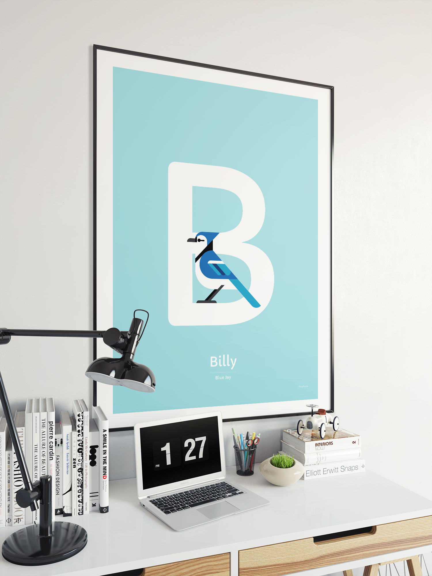 blue jay personalized bird alphabet poster