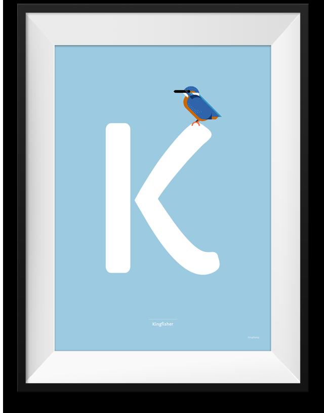 Kingfisher minimalistic print