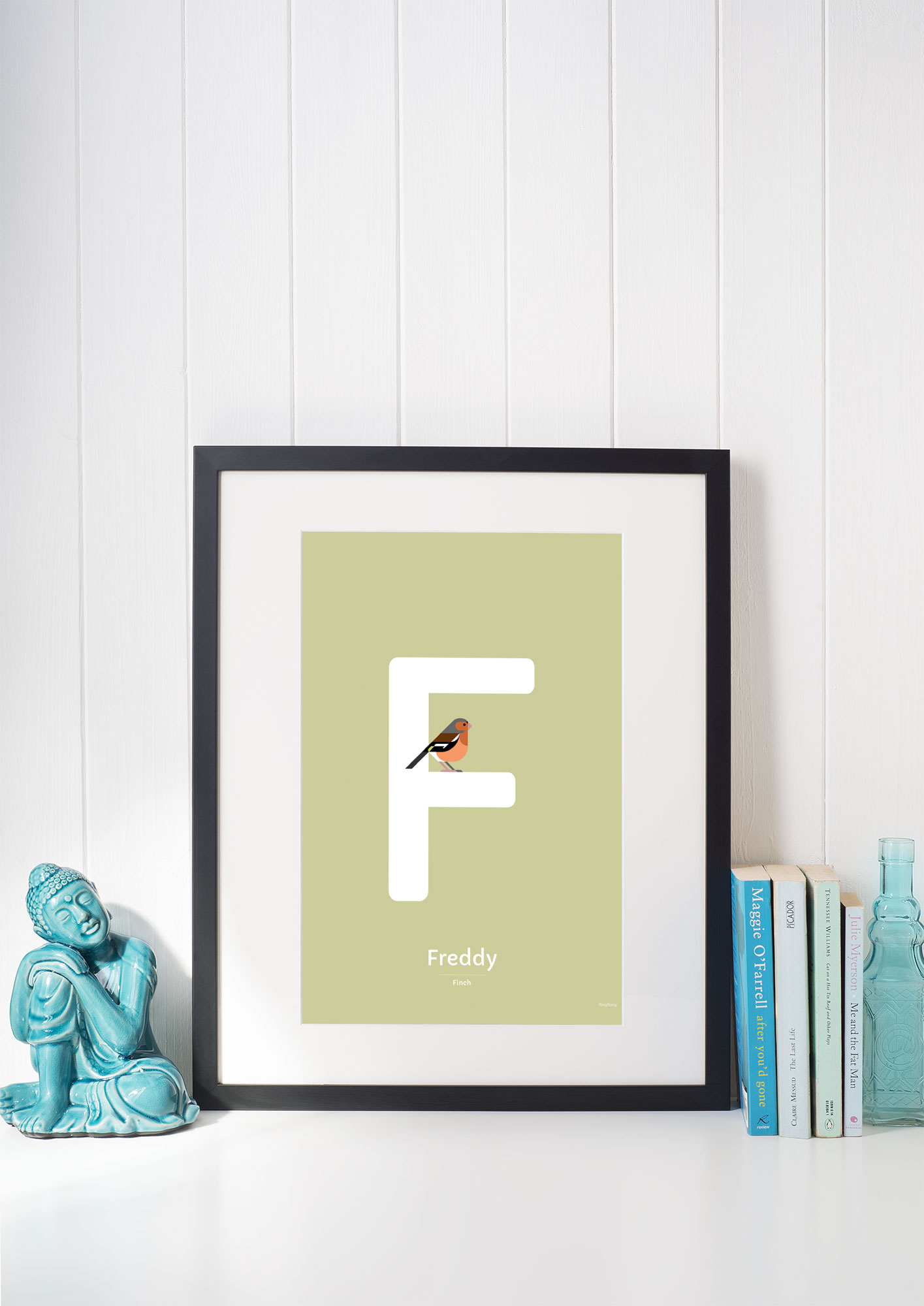 finch bird alphabet poster framed