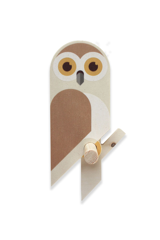 wooden owlet nird wall hook