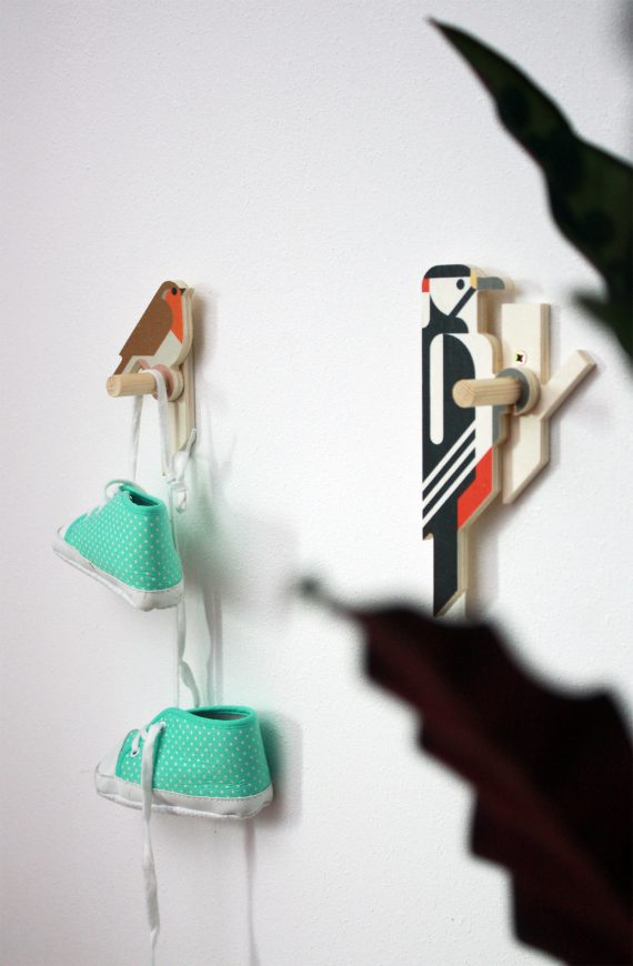 Robin and Woodpecker wall hooks by Hinghang