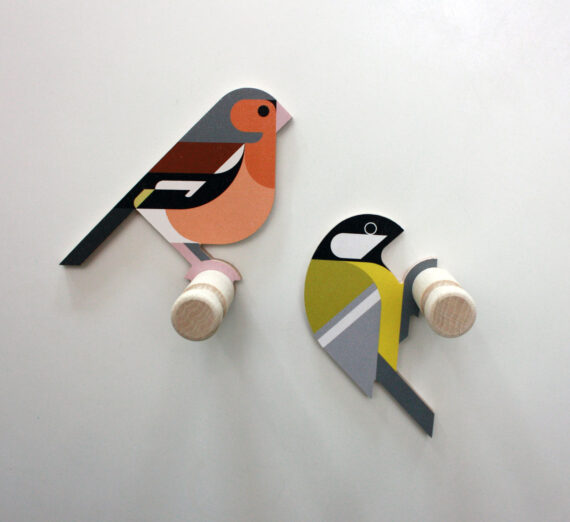 finch and great tit wooden wall hooks hinghang