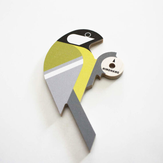 wooden great tit wallhook detail by hinghang