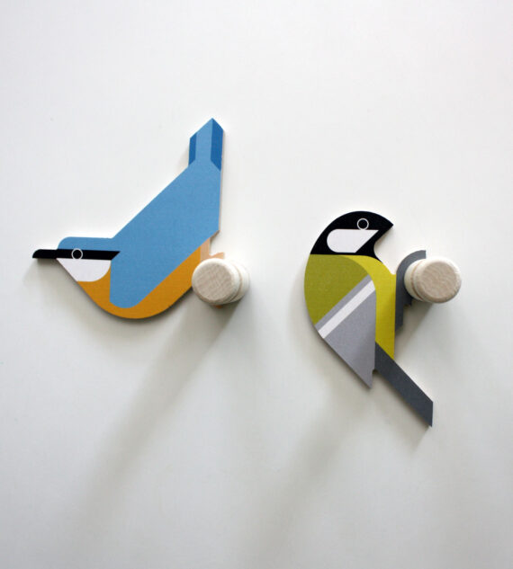 nuthatch and great tit wooden wall hooks by hinghang