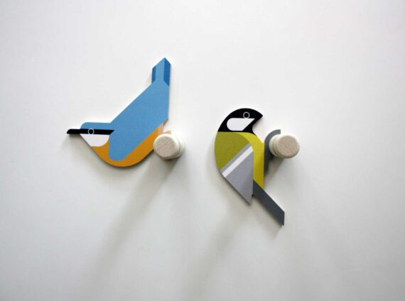 nuthatch great tit wooden wall hooks hinghang